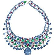 Diamond Statement Necklace 925 Sterling Silver Carved Sapphire Drop Highend Jewe