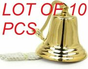 7 Antique Solid Brass Wall Mountable Ship Bell Nautical Wall Decor Collectible
