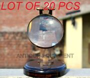 Vintage Adjustable Brass Magnifying Glass On Wooden Base Table Top Beautiful Gft
