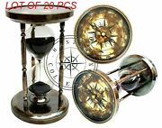 Brass 4 Compass Top Sand Timer 6 Nautical Maritime Hourglass Vintage Old Clock