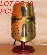 Medieval Knight Armour Viking Crusader Templar Helmet Replica With Wooden Stand