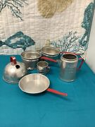 Vintage Aluminum Childs Kitchen Cookware Red Handle Toy Lot Of 6