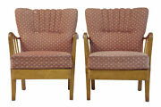 Pair Of 1950and039s 20th Century Birch Easy Armchairs
