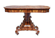 Mid 19th Century Danish Carved Flame Mahogany Center Table