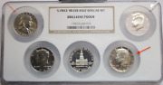 5- Piece Silver Half Dollar Set Brillant Proof 2 Coins Rotated