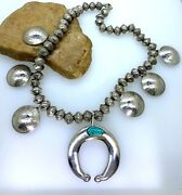 Native American Indian Old Pawn Squash Blossom Necklace