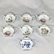 Set Of 7 Limoges China Porcelain Tea Bag Holders Made In France Raynaud And Co.