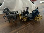Vintage Cast Iron Stanley Toys - Horses Blue Buggy, W/ Man And Woman 40's