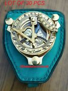 Brass Sundial Compass 3 Inch Beautiful Sun Clock With Sheathed Case