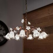 Suspended Lights Wrought Iron And Glass Classic Ceramics Brown White Gold