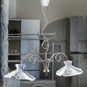 Chandelier Cooking Barbell Classic Ceramic White Nickel