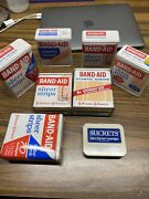 Lot Of 7 Vintage Band-aid Tins Empty Multiple Uses And 1 Sucrets Tin.