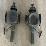 Antique French Pair Carriage Lamps Copper Verdigris 1890s 1880s Napoleon Iii Old