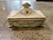 Beautiful Antique Porcelain Vanity Desk Ring Holder Box By Heubach Germany