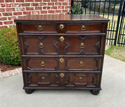 Antique English Chest Of Drawers Jacobean Oak 4 Drawers Commode Cabinet 19th C