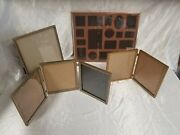 Lot Vtg Gold Tone Metal Picture Large Multi Photo 3 Frame Hinged Mcm Shabby Chic