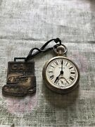 Vintage Westclox Pocket Watch W/ Cat Tractor Key Chain Attached