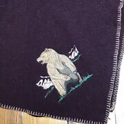 """Woolrich Wool Throw Lap Blanket Bear Embroidered Contrast Stitch Usa 56""""x 36"""" M"""