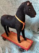Antique Vintage Black Cloth Covered Horse Pull Toy On Metal Wheels Germany