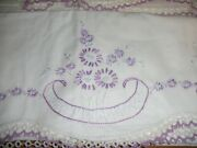 Vintage 2 Pillowcases Embroidered Crochet Purple Edge With Flower Design