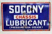 Porcelain Sign Socony Chassis Lubricant Pressure Gun Grease 18x30 Gas Oil