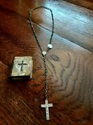 Vintage Minature Mother Of Pearl Book Shaped Case W/ Green Rosary Made In Italy