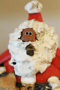 Nc Pottery Hand Sculpted Brown Santa Claus Signed
