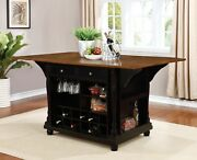 Country Farmhouse Kitchen Island With Drop Leaf Table Spice Rack And Wine Storage