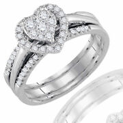 0.50ct Round Real Diamond Heart Bridal Engagement Ring Solid 14k White Gold