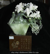16 Chinese Natural Xiu Jade Hand Carving Magnolia Flower Tree Base Sculpture