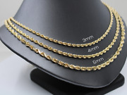 14k Gold Solid Heavy Rope Chain Necklace Thick Diamond-cut Rope Style Chain