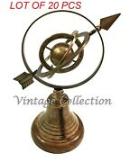 Brass Armillary Globe Spehre Engraved With Arrow Nautical Decor On Wooden Base