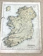 1857 Antique Map Of Ireland Eire Irish Counties Old Hand Coloured Engraving