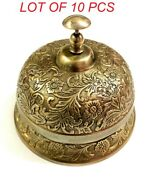 Antique Victorian Brass Table Bell Hotel Front Desk Bell Reception Calling Bell