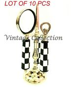 Vintage Brass Chess Handle Handheld Magnifying Glass With Bottle And Letter Opener