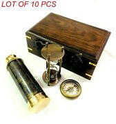 Title Set Of 3 Brass Antique Telescope With Sand Timer And Pocket Compass In Woo