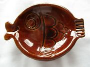 7/19 1974 Dated Mccoy Usa Brown Fish Ashtray March 3.5 Nice Vintage Pottery