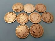 Lot Of 9 Barber Silver Quarters