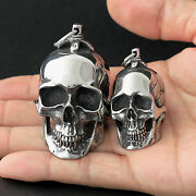 Menand039s Huge Heavy Gothic Vintage Silver Skull Stainless Steel Necklace Pendant