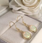 Vintage Jewellery Gold Earrings With Opals Ear Rings Antique Deco Dress Jewelry