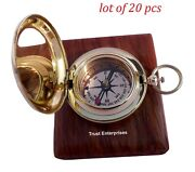 Brass Nautical Pocket Compass Collectible Marine Compass With Box Christmas Gift