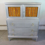 Vintage 1940s Painted Cabinet / Chest Of Drawers With P.e. Guerin Brass Hardware