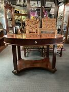 Vintage Baker Furniture Classical Oval Center Table W/ Drawer Hall Library Den