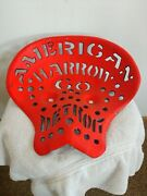 Antique American Harrow Co. Detroit Cast Iron Tractor Seat