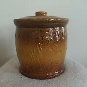 Red Wing Pottery Cattails Cookie Jar W/lid