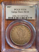 1807 Drapped Bust Half Large Stars 50/20 Pcgs Vf30 Original Coin