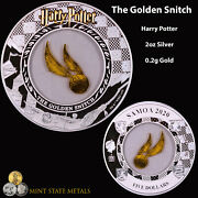 2020 Samoa Harry Potter - Golden Snitch - 2 Oz Silver And 0.2 Grams Gold Coin