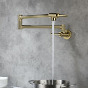 Wall Mount Pot Filler Kitchen Faucet Brushed Gold Folding Stretchable Brass Tap