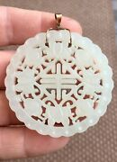 Fine Antique Chinese White Nephrite Jade Pendant Qing Dynasty 18k Gold Bail 750