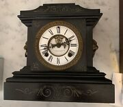 Antique Ansonia Cast Iron Mantle Clock With Lions